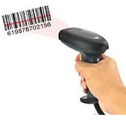 Hand holding a scanner, scanning a bar code